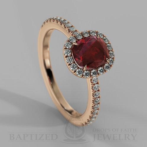 Cushion Cut Ruby & Diamonds Halo Ring