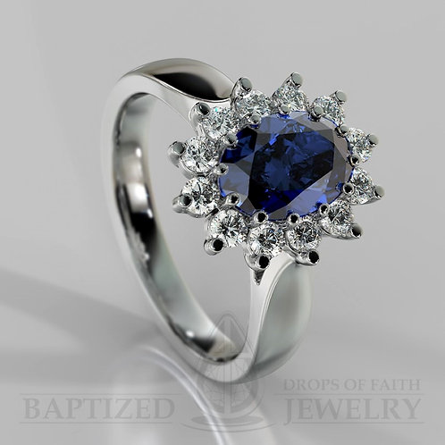 Oval Cut Blue Sapphire & Diamonds Ring