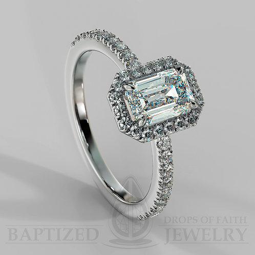 Emerald Cut Natural Diamond Halo Ring
