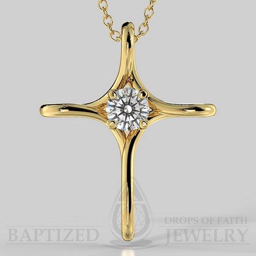 Natural Diamond Infinity Cross Pendant In 14K Gold (0.25 Ct)