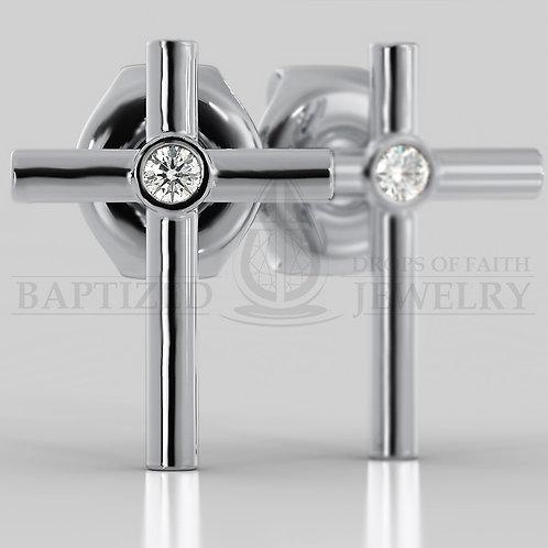 Natural Diamond Simple Cross Earrings (2 x 0.04 ct)