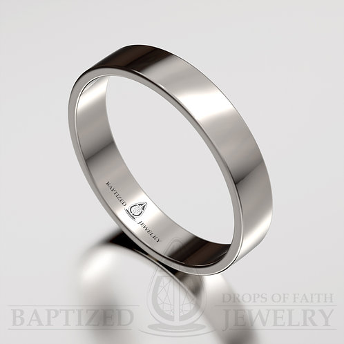 """""""Joseph"""" 14K Gold Flat Wedding Ring"""