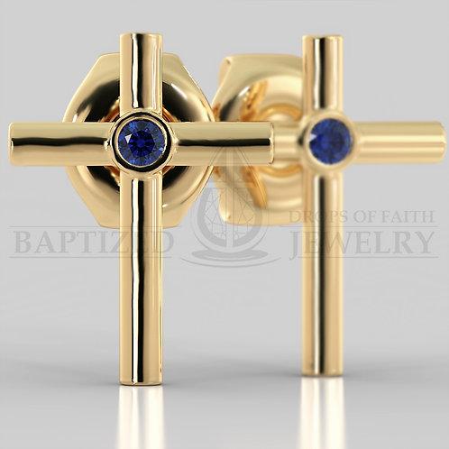 Blue Sapphire Simple Cross Earrings (2 x 0.04 ct)