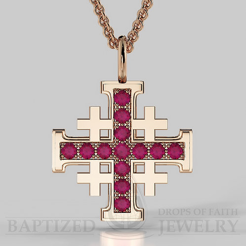 Ruby Jerusalem Cross Pendant In 14K Gold (0.65 Ctw)