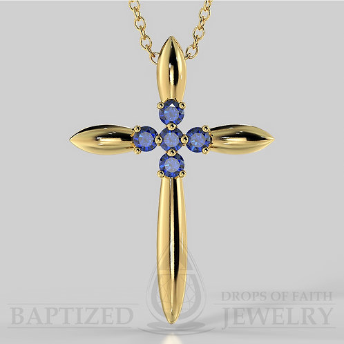 Blue Sapphire Slender Cross Pendant In 14K Gold (0.15 Ctw)