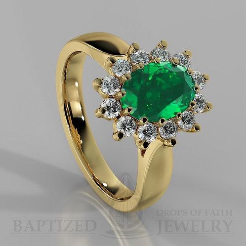 Oval Cut Emerald & Diamonds Ring