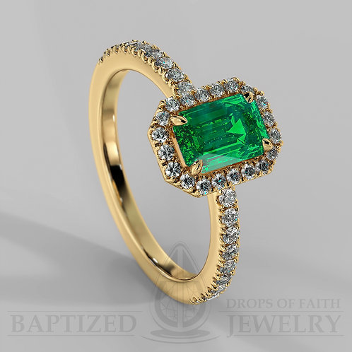 Emerald Cut Emerald & Diamonds Halo Ring
