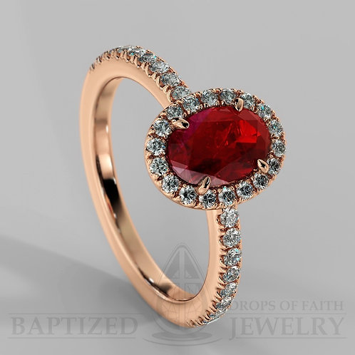 Oval Cut Ruby & Diamonds Halo Ring