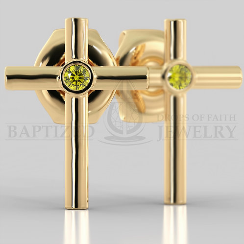 Fancy Yellow Diamond Simple Cross Earrings (2 x 0.04 ct)