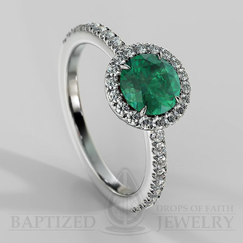 Round Cut Emerald & Diamonds Halo Ring