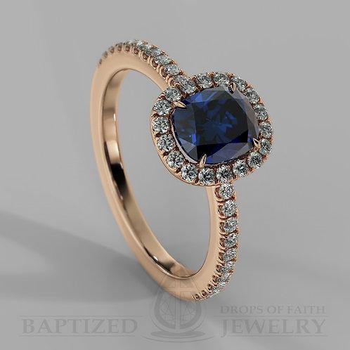 Cushion Cut Blue Sapphire & Diamonds Halo Ring