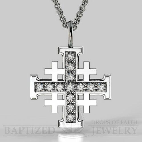 Natural Diamond Jerusalem Cross Pendant In 14K Gold (0.5 Ctw)