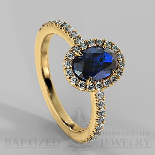 Oval Cut Blue Sapphire & Diamonds Halo Ring
