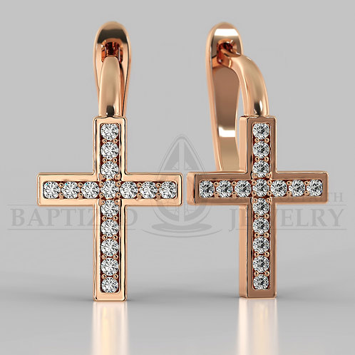 Natural Diamond Classic Cross Earrings