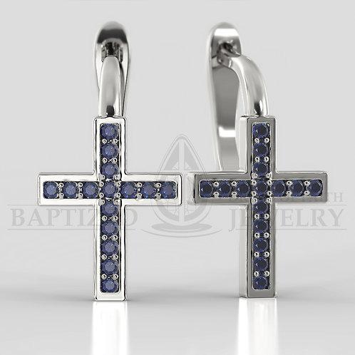 Blue Sapphire Classic Cross Earrings
