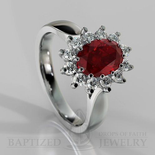 Oval Cut Ruby & Diamonds Ring