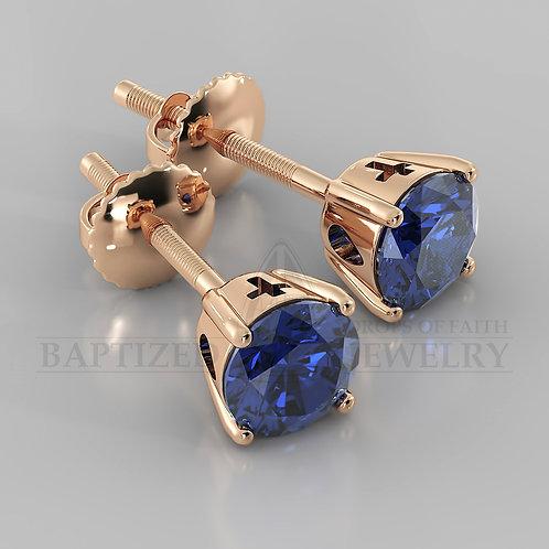 Blue Sapphire Round Cut Earrings (2 X 0.4 Ct)