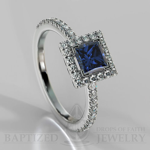 Princess Cut Blue Sapphire & Diamonds Halo Ring