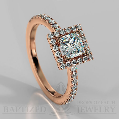 Princess Cut Natural Diamond Halo Ring