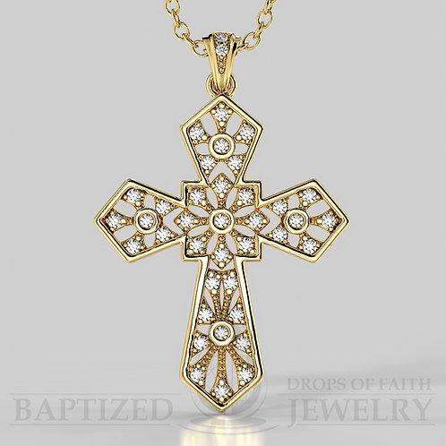 Natural Diamonds Wide Cross Pendant in 14K gold (0.35  ctw)
