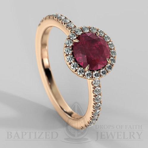 Round Cut Ruby & Diamonds Halo Ring