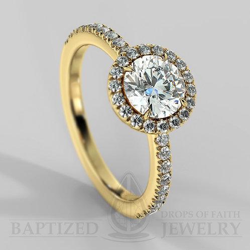 Round Cut Natural Diamond Halo Ring