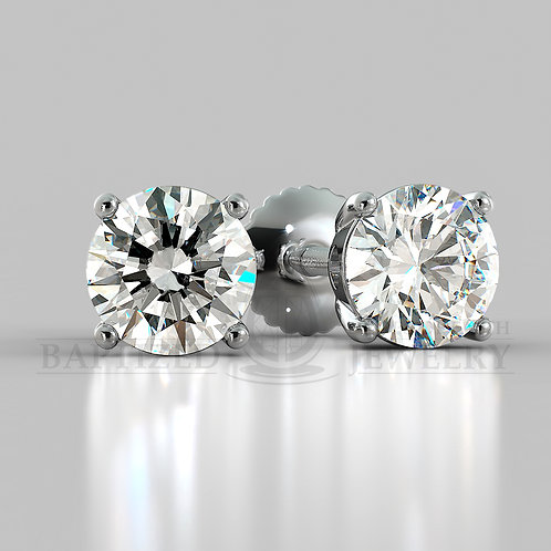 Natural Diamond Round Cut Earrings (2 X 0.4 Ct)