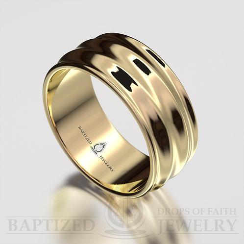 """Joseph"" 14K Gold Waves Wedding Ring"