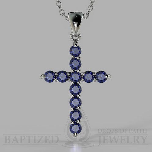 Blue Sapphire Classic Cross Pendant In 14K Gold (0.65 Ctw)