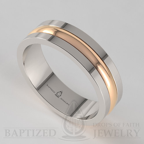 14K Gold Two-Metal Wedding Ring