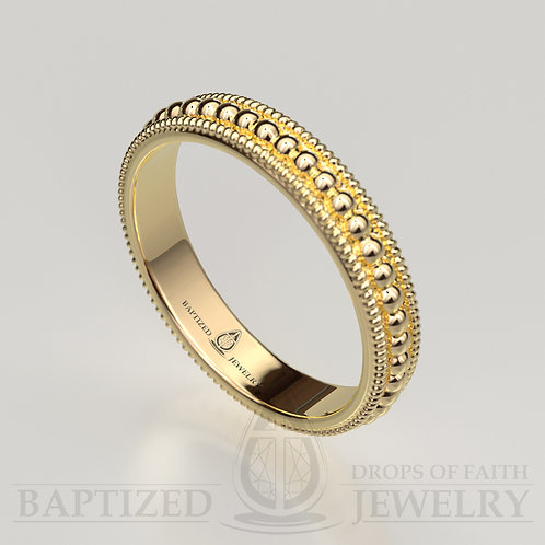 14K Gold Beads Wedding Ring