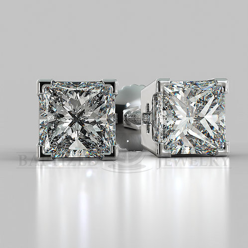 Natural Diamond Princess Cut Earrings (2 X 0.4 Ct)