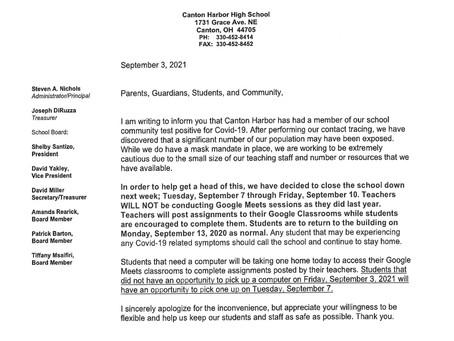 Canton Harbor School Closure Update: September 7- September 10