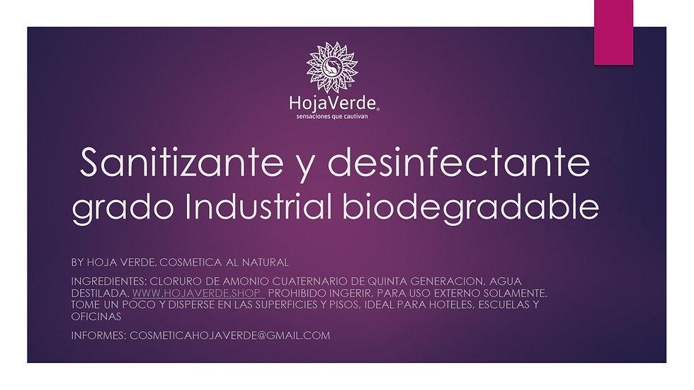 Sanitizante industrial en base a cuaternarios de Amonio