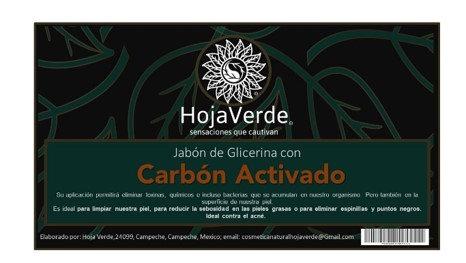 Jabon de glicerina vegetal con Carbon activado