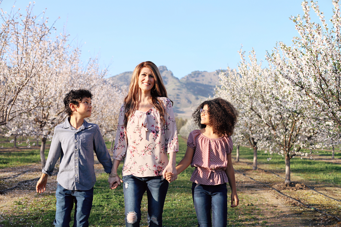 Mom & kids in Almond Orchards
