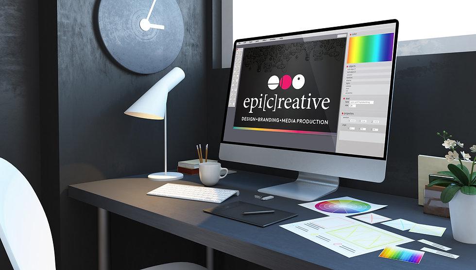 logo-design-workplace-interior-3d-render
