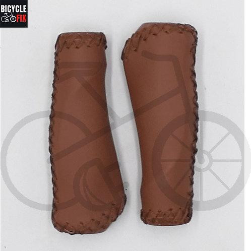 זוג גריפים מעור יוקרתי לאופניים בצבע חום -  https://www.bicyclefix.n