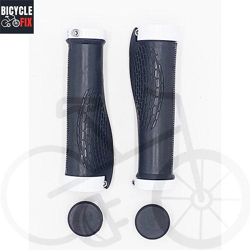 זוג גריפים לאופניים גומי שחור/לבן - https://www.bicyclefix.net/