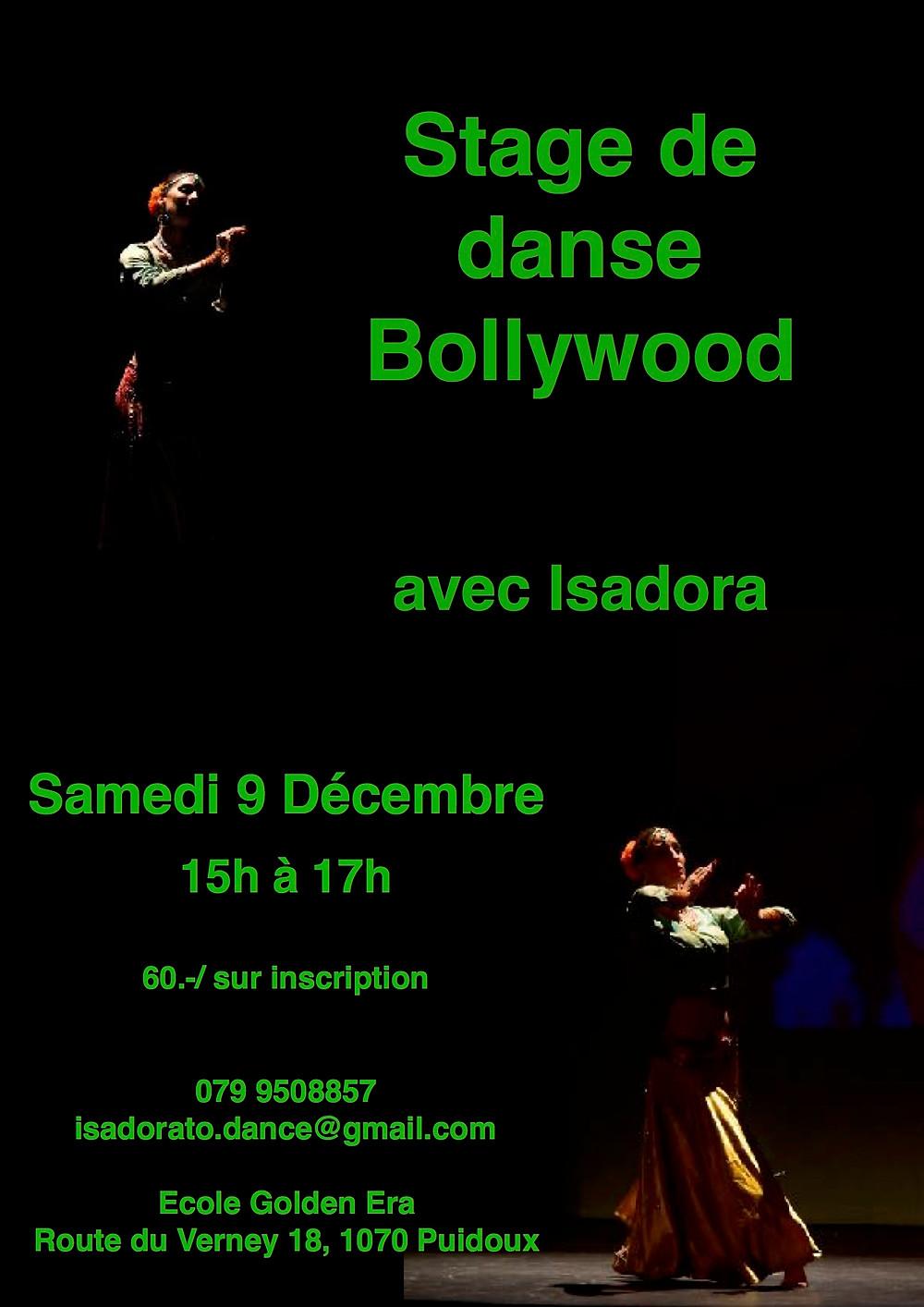 Je vous attends le 9 décembre à l'école Golden Era de Puidoux pour apprendre une nouvelle chorégraphie des films indiens!