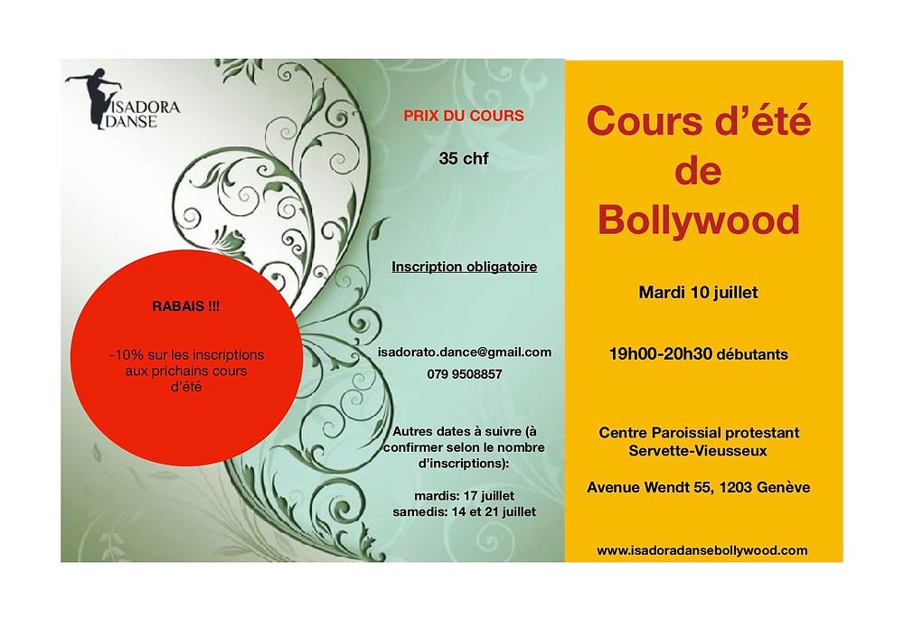 Cours de danse Bollywood à Genève, juillet 2018
