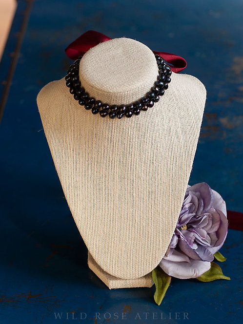 Sophia Noir - Two Strand Pearl Necklace - 18th century reproduction jewelry