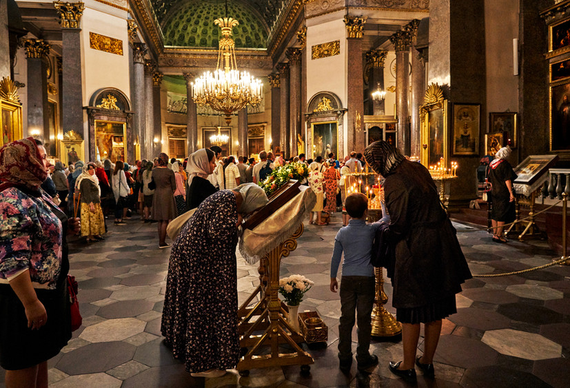 Sunday morning service, Kazan Cathedral, St. Petersburg