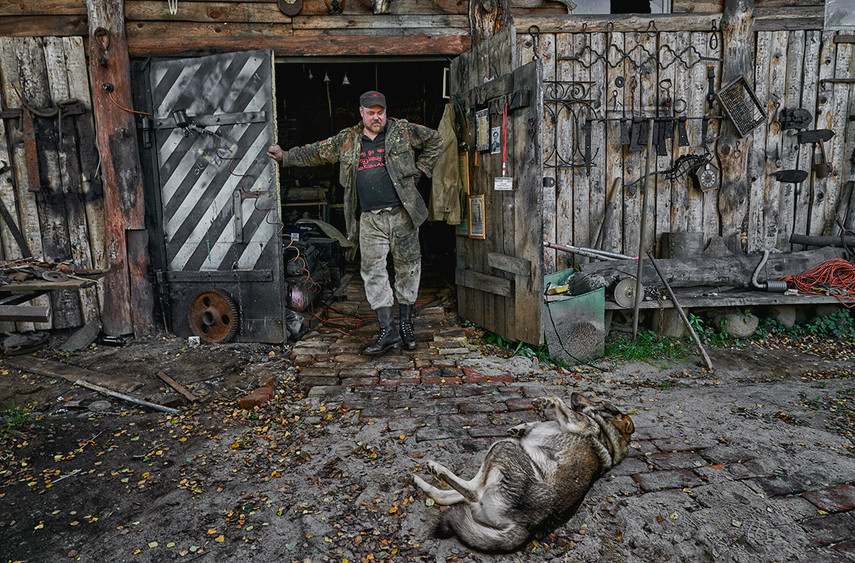 Metalsmith and his dog, Myshkin