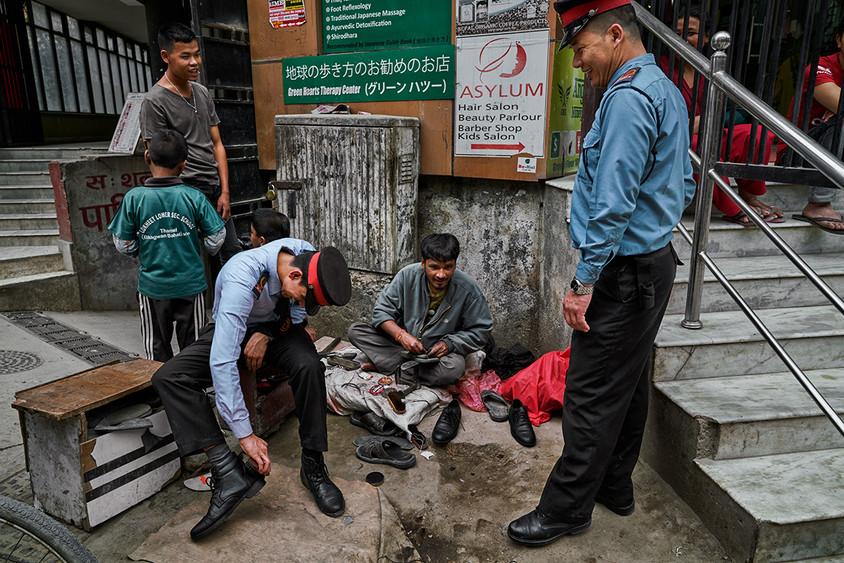 Shoeshines on the street, Kathmandu