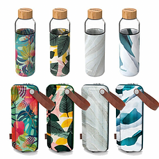 Quakka-Glass Water Bottle with printed c