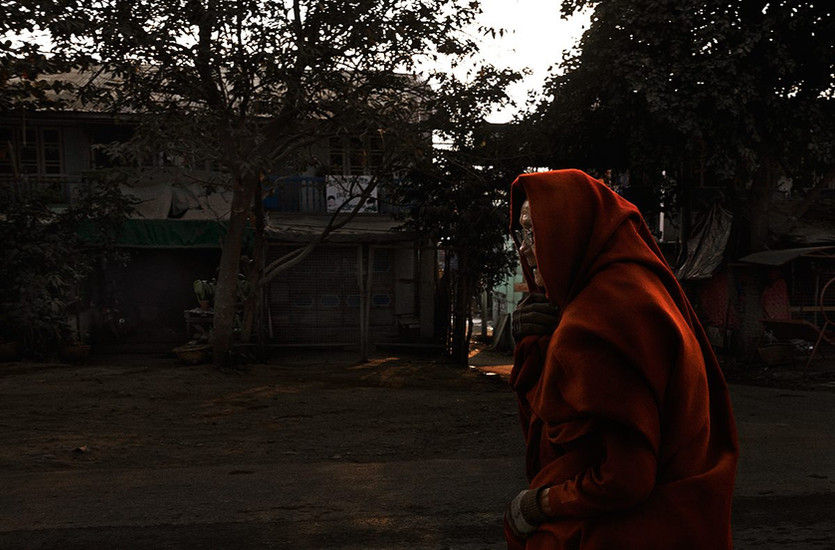 morning journey of a monk, Mandalay