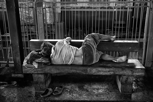 Napping, Hua Lumphong Train Station, Bangkok, Thailand