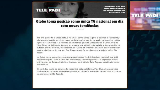 TELEPADI: Globo é única TV nacional em dia com novas tendências