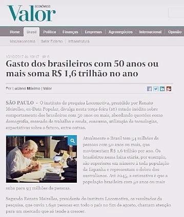 Gasto dos brasileiros com 50 anos ou mais soma R$ 1,6 trilhão